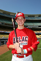 August 9 2008: Jason Thompson participates in the Aflac All American baseball game for incoming high school seniors at Dodger Stadium in Los Angeles,CA.  Photo by Larry Goren/Four Seam Images