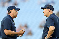 CHAPEL HILL, NC - SEPTEMBER 07: Senior Advisor to the Head Coach Sparky Woods and Special Teams Coach and Outside Linebackers Coach Scott Boone of the University of North Carolina during a game between University of Miami and University of North Carolina at Kenan Memorial Stadium on September 07, 2019 in Chapel Hill, North Carolina.