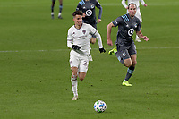 ST PAUL, MN - OCTOBER 28: Cole Bassett #26 of Colorado Rapids chases the ball during a game between Colorado Rapids and Minnesota United FC at Allianz Field on October 28, 2020 in St Paul, Minnesota.