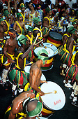 Salvador, Bahia State, Brazil. Carnival procession; Olodum Bloco; bateria drum corps with Gope surdo drums.