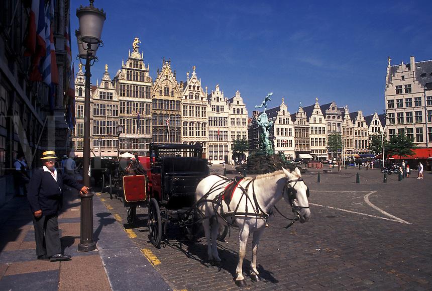 carriage ride, Belgium, Antwerpen, Antwerp, Europe, Horse and carriage at Grote Markt in downtown Antwerpen.