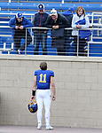 BROOKINGS, SD - MARCH 13: Mark Gronowski #11 of the South Dakota State Jackrabbits talks with family members following the Jacks 19-17 win over the Youngstown State Penguins at Dana J. Dykhouse Stadium on March 13, 2021 in Brookings, South Dakota. (Photo by Dave Eggen/Inertia)