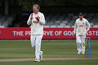 Simon Harmer of Essex celebrates taking the wicket of Will Young during Essex CCC vs Durham CCC, LV Insurance County Championship Group 1 Cricket at The Cloudfm County Ground on 15th April 2021