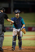 AZL Mariners catcher Manny Pazos (21) on defense against the AZL Cubs on August 4, 2017 at Sloan Park in Mesa, Arizona. AZL Cubs defeated the AZL Mariners 5-3. (Zachary Lucy/Four Seam Images)