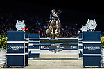 Jacqueline Lai of Hong Kong riding Basta competes in the Longines Grand Prix during the Longines Masters of Hong Kong at AsiaWorld-Expo on 11 February 2018, in Hong Kong, Hong Kong. Photo by Diego Gonzalez / Power Sport Images