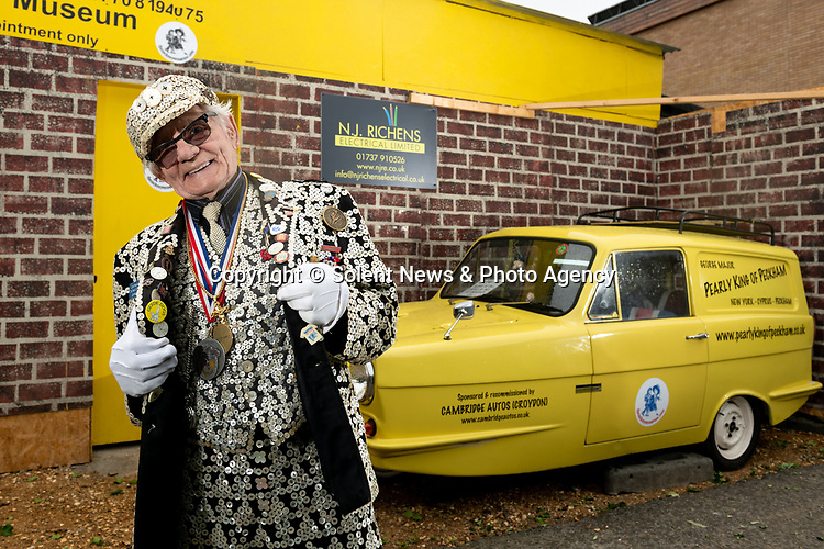 Pictured: Portrait of George Major outside The Cockney Museum in Stoneleigh, Surrey. <br /> <br /> Would you Adam and Eve it?  A pensioner spent his life savings opening the world's very first dedicated Cockney Museum - in Surrey.  Pearly King George Major has wanted to open a museum celebrating the old traditions of the East End of London since he was teenager.<br /> <br /> Now the 83-year old has finally achieved his dream but not in his birthplace of Peckham, but in the Home Counties, where he now lives.  Great grandfather George - who spent £60,000 on the project - said that 'Cockney London' is now 'basically dead' and claimed there are more Cockneys living in Surrey these days than there are in the capital.  SEE OUR COPY FOR DETAILS.<br /> <br /> © Jordan Pettitt/Solent News & Photo Agency<br /> UK +44 (0) 2380 458800