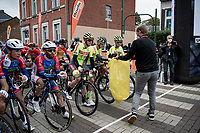 face masks collected at the start in Herve<br /> <br /> 84th La Flèche Wallonne 2020 (1.UWT)<br /> 1 day race from Herve to Mur de Huy (202km/BEL)<br /> <br /> ©kramon