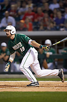 Drew Ober (18) of the Charlotte 49ers follows through on his swing against the Georgia Bulldogs at BB&T Ballpark on March 8, 2016 in Charlotte, North Carolina. The 49ers defeated the Bulldogs 15-4. (Brian Westerholt/Four Seam Images)