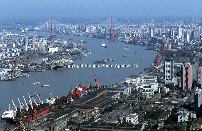Aerial View of Shanghai's Huangpu River, a tributary of the Yangtze and the main water artery for the largest city in China..11-JUL-02