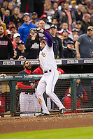 LSU Tigers third baseman Conner Hale (20) catches a foul pop near the Houston Cougars dugout during the NCAA baseball game on March 6, 2015 at Minute Maid Park in Houston, Texas. LSU defeated Houston 4-2. (Andrew Woolley/Four Seam Images)