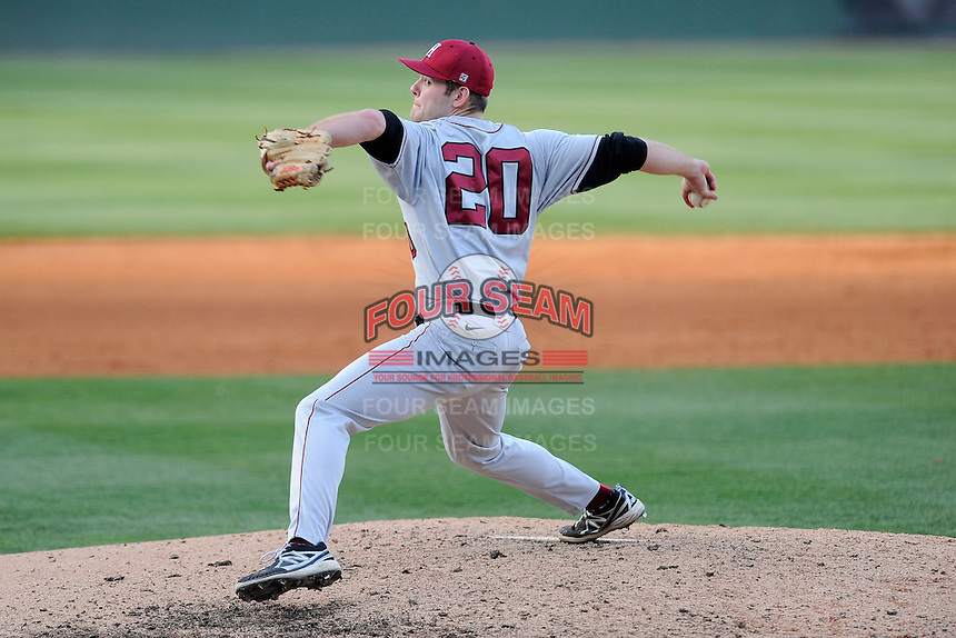 Pitcher Tanner Anderson (20) of the Harvard Crimson in a game against the Michigan State Spartans on Saturday, March 15, 2014, at Fluor Field at the West End in Greenville, South Carolina. Michigan State won, 4-0. (Tom Priddy/Four Seam Images)