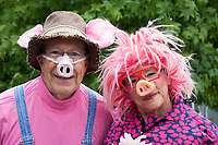 Senior man & woman having fun wearing pig noses, Fremont Solstice Parade & Festival, Seattle, Washington, USA.