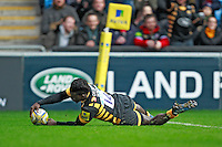 Photo: Ian Smith/Richard Lane Photography. Wasps v Bath Rugby. Aviva Premiership. 24/12/2016. Wasps' Christian Wade scores his side's second try.