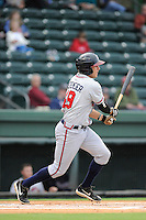 First baseman Tanner Krietemeier (49) of the Rome Braves bats in a game against the Greenville Drive on Thursday, July 31, 2014, at Fluor Field at the West End in Greenville, South Carolina. Rome won the rain-shortened game, 4-1. (Tom Priddy/Four Seam Images)