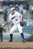 Winston-Salem Dash relief pitcher Drew Hasler (34) in action against the Salem Red Sox at BB&T Ballpark on April 22, 2018 in Winston-Salem, North Carolina.  The Red Sox defeated the Dash 6-4 in 10 innings.  (Brian Westerholt/Four Seam Images)