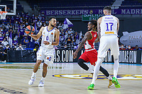 13th October 2021; Wizink Center; Madrid, Spain; Turkish Airlines Euroleague Basketball; game 3; Real Madrid versus AS Monaco; Nigel Williams-Goss (Real Madrid Baloncesto) driving witgh the ball while Vicent Poirier (Real Madrid Baloncesto) blocks off Paris Lee