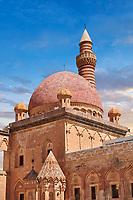 Minarete of the Mosque of the 18th Century Ottoman architecture of the Ishak Pasha Palace (Turkish: İshak Paşa Sarayı) ,  Agrı province of eastern Turkey.