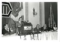 Robert-Rene De Cotret<br />  a la tribune de la chambre de commerce, le 16 oct 1979<br /> <br /> <br /> PHOTO :  Agence Quebec Presse
