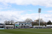 Players from both teams observe a one minute silence in memory of the late Prince Philip, Duke of Edinburgh during Essex CCC vs Worcestershire CCC, LV Insurance County Championship Group 1 Cricket at The Cloudfm County Ground on 9th April 2021