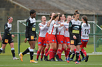 Zulte players celebrate their team's second goal during a female soccer game between SV Zulte - Waregem and Eendracht Aalst on the 9 th matchday in play off 2 of the 2020 - 2021 season of Belgian Scooore Womens Super League , saturday 22 nd of May 2021  in Zulte , Belgium . PHOTO SPORTPIX.BE | SPP | DIRK VUYLSTEKE