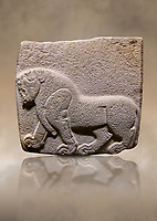 Aslantepe Hittite relief sculpted orthostat stone panel. Limestone, Aslantepe, Malatya, 1200-700 B.C. . Anatolian Civilisations Museum, Ankara, Turkey<br /> Depiction of a horse walking