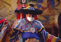 TANTRIC DANCER in silk costume, with scarf to prevent inhaling living beings, TIKSE Monastery Masked Dances - LADAKH, INDIA
