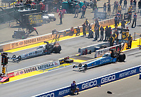 Jul 28, 2019; Sonoma, CA, USA; NHRA top fuel driver Leah Pritchett (right) alongside Austin Prock during the Sonoma Nationals at Sonoma Raceway. Mandatory Credit: Mark J. Rebilas-USA TODAY Sports