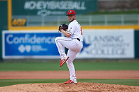 Lansing Lugnuts relief pitcher Mike Pascoe (6) during a Midwest League game against the Wisconsin Timber Rattlers at Cooley Law School Stadium on May 1, 2019 in Lansing, Michigan. Wisconsin defeated Lansing 8-3 after the game was suspended from the previous night. (Zachary Lucy/Four Seam Images)