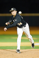 Wake Forest Demon Deacons relief pitcher Max Tishman (34) in action against the West Virginia Mountaineers at Wake Forest Baseball Park on February 24, 2013 in Winston-Salem, North Carolina.  The Demon Deacons defeated the Mountaineers 11-3.  (Brian Westerholt/Four Seam Images)