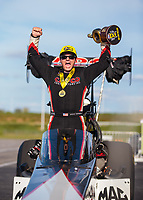 Sep 23, 2018; Madison, IL, USA; NHRA top fuel driver Steve Torrence celebrates after winning the Midwest Nationals at Gateway Motorsports Park. Mandatory Credit: Mark J. Rebilas-USA TODAY Sports