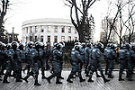 Kiev, Ukraine - 03 december 2013: A berkut patrol, the ukrainian riot police troops walk toward the ukrainian parliament (Verkhovna Rada) before the opening of the session during which the oppisition parties wanted to fire current government. Credit: Niels Ackermann / Rezo.ch