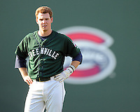 Infielder Jason Thompson (2) of the Greenville Drive, Class A affiliate of the Boston Red Sox, in a game against the Augusta GreenJackets on April 10, 2011, at Fluor Field at the West End in Greenville, South Carolina. (Tom Priddy / Four Seam Images)
