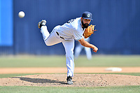 Asheville Tourists pitcher Jacob Bosiokovic (35) delivers a pitch during a game against the West Virginia Power at McCormick Field on June 2, 2019 in Asheville, North Carolina. The  Power defeated the Tourists 5-4. (Tony Farlow/Four Seam Images)