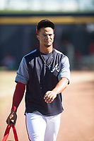 Peoria Javelinas infielder Ray-Patrick Didder (1), of the Atlanta Braves organization, walks onto the field before an Arizona Fall League game against the Scottsdale Scorpions at Peoria Sports Complex on November 15, 2018 in Mesa, Arizona. Peoria defeated Scottsdale 2-1. (Zachary Lucy/Four Seam Images)