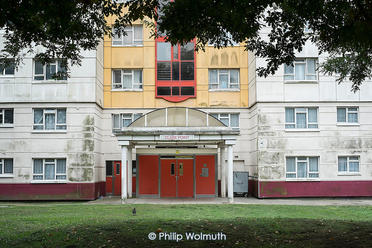 Clare Point, Brent, a 12 storey block of ex-council owned flats, sold off under the Right-to-Buy scheme.