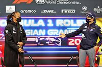 26th August 2021; Spa Francorchamps, Stavelot, Belgium: FIA F1 Grand Prix of Belgium, driver arrival day:  44 Lewis Hamilton GBR, Mercedes-AMG Petronas F1 Team, 11 Sergio Perez MEX, Red Bull Racing