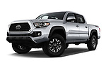 Stock pictures of low aggressive front three quarter view of a 2018 Toyota Tacoma TRD Off Road Double Cab 4 Door Pick Up