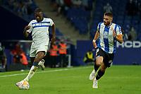 22nd September 2021: RCDE Stadium, Barcelona, Spain: La Liga Football, Espanyol versus Atletico Madrid;  Sylla and David Lopez chase along the line on the ball