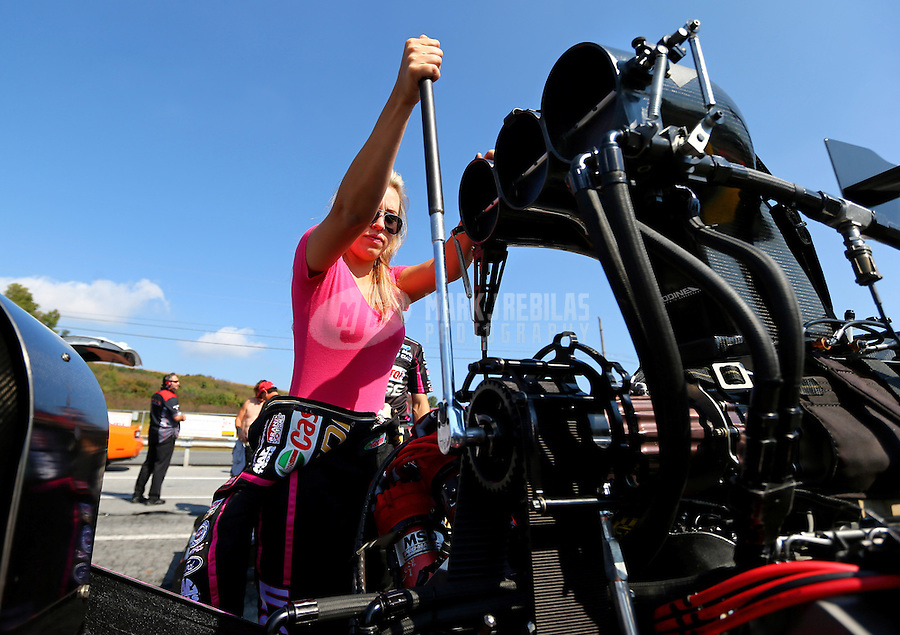 Oct 5, 2013; Mohnton, PA, USA; NHRA top fuel dragster driver Brittany Force during qualifying for the Auto Plus Nationals at Maple Grove Raceway. Mandatory Credit: Mark J. Rebilas-