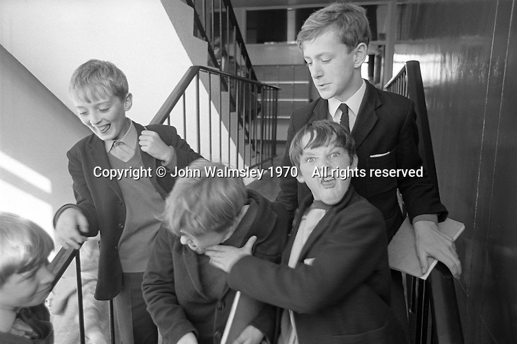 Mucking about on the stairs, Whitworth Comprehensive School, Whitworth, Lancashire.  1970.