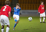 St Johnstone Academy v Manchester United Academy....17.04.15   <br /> Cameron Lumsden shoots for goal<br /> Picture by Graeme Hart.<br /> Copyright Perthshire Picture Agency<br /> Tel: 01738 623350  Mobile: 07990 594431