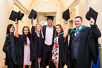 "Monday 10 July 2017<br /> Pictured: Chris Coleman poses with students after Receiving his Honorary Fellowship<br /> Re: Wales Football Manager, Chris Coleman was today (Monday, July 10th) awarded an Honorary Fellowship by the University of Wales Trinity Saint David (UWTSD) during the first of its Swansea graduation ceremonies in the city's Brangwyn Hall. <br /> Chris Colman 2<br /> <br /> On receiving the award, Chris Coleman said:  ""I've failed as many times as I've achieved but it's not about that, it's about self-belief and perseverance.   You'll have so many doubters along the way - if you haven't got belief in yourself you don't go a long way.  If you haven't got perseverance, your talent doesn't get you through.  If you think you can't, you won't.<br /> <br /> ""Everything I've ever achieved, I've had good people around me.  We've got a good saying, I can't but we can.  Make sure the 'we' are the people you want around you.<br /> <br /> ""With us, I'm the front man, I'm the one who speaks to the media; I pick the team and make the big decisions but I've got a team of people around me to help me with almost everything so I have to delegate well and listen to the good advice.  Surround yourself with good people.  Never be in a comfort zone or you won't achieve anything.<br /> <br /> ""I'm not telling you this because I read it in a book; because I saw it on TV or because someone told me.  I'm telling you because it's my experience."""