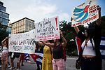 People protest in Union Square Park in support of the demonstrations in Cuba