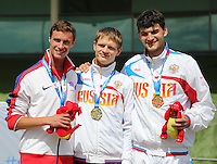 Wednesday August 20, 2014 <br /> Picture: Paul Blake, Evgenil Shvetcov, Andrey Zhirnov<br /> RE: Paul Blake wins a silver medal in the Men's 400mm - T3 for Team GB at the 2014 IPC Athletics European Championships at Swansea University International Sports Village.