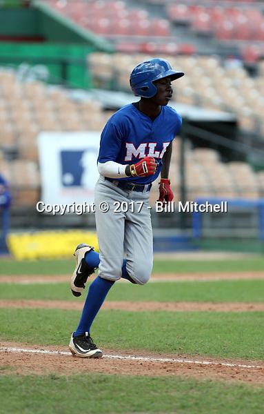 Eduardo Vaughan participates in the MLB International Showcase at Estadio Quisqeya on February 22-23, 2017 in Santo Domingo, Dominican Republic.