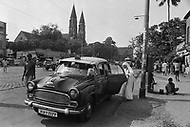 """Calcutta, India. April 04, 1975.<br /> Mother Teresa took daily morning rides in a taxi around Calcutta. Mother Teresa (Agnes Gonxha Boyaxihu) the Roman Catholic, Albanian nun revered as India's """"Saint of the Slums,"""" was awarded the 1979 Nobel Peace Prize."""