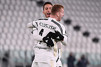 Dejan Kulusevski of Juventus FC celebrates after scoring the goal of 1-0 during the Italy Cup round of 16 football match between Juventus FC and Genoa CFC at Juventus stadium in Torino (Italy), January 13th, 2021. Photo Federico Tardito / Insidefoto
