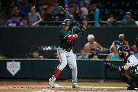Jonah Davis (14) of the Greensboro Grasshoppers at bat against the Winston-Salem Dash at Truist Stadium on August 13, 2021 in Winston-Salem, North Carolina. (Brian Westerholt/Four Seam Images)