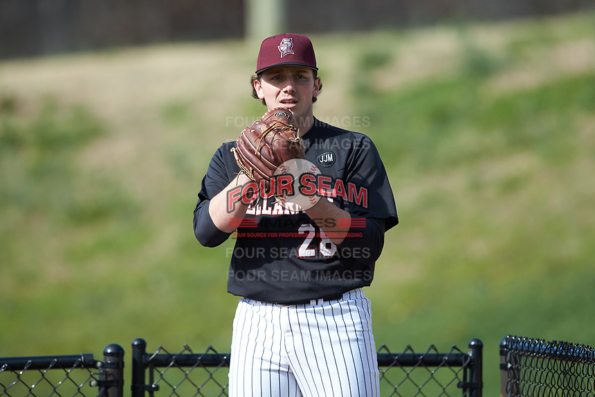 Bellarmine Knights starting pitcher Brandon Pfaadt (28) warms up in the bullpen prior to the game against the North Greenville Crusaders at Ashmore Park on February 7, 2020 in Tigerville, South Carolina. The Crusaders defeated the Knights 10-2. (Brian Westerholt/Four Seam Images)
