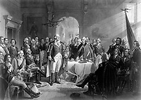 Washington and his Generals.  Copy of print by A. H. Ritchie, ca. 1870. (George Washington Bicentennial Commission)<br /> Exact Date Shot Unknown<br /> NARA FILE #:  148-GW-594<br /> WAR & CONFLICT #:  27